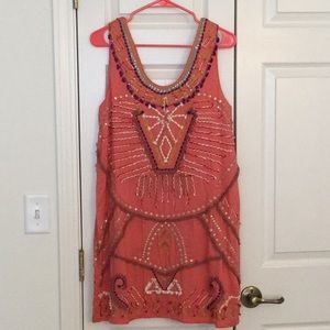Anthropologie Bohemian dress in coral pink (NWT!)